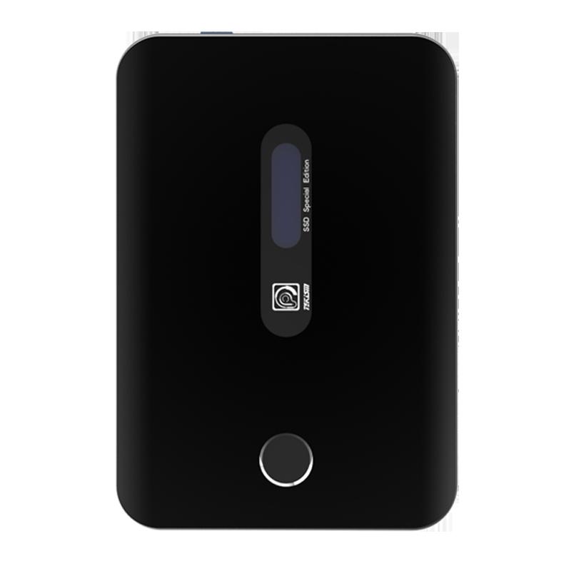 TEK3 PRO USB3.2 高速带屏显指纹加密移动固态硬盘 内置束线SSD 哑黑 1TB